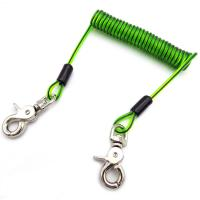 Stainless Steel Wire Cord Coil Cable Dichroic Tool Lanyard With Swivel Hook On Both Ends