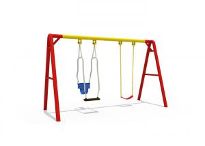 China Face to Face Custom Color Swing and Slide Set Outdoor Play Equipment for Mom / Baby on sale