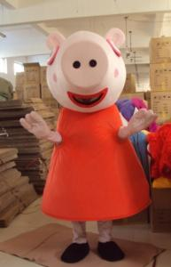 Quality Funny Custom Cartoon Character peppa pig mascot costumes with little cool fan for sale
