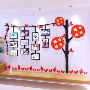 China 3D acrylic Leaves photo frame wall stickers children living room TV background wall sticker sofa wall decorative sticker on sale