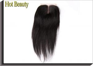 China Virgin Human Hair Lace Closure , Full Density Clip In Human Hair Extensions Middle Part Silky Straight on sale
