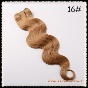 China 100% Virgin Remy Brazilian Hair Extensions Body Wave 16# Silk Brown Color on sale