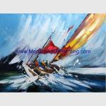 Sailing Boats Oil Painting, Hand Painted Seascape Oil Painting For Wall Decor