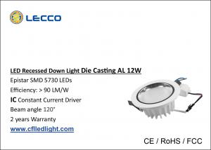 China No Flicker LED Recessed Downlight , Led Kitchen Ceiling Downlights 100 LM / W on sale