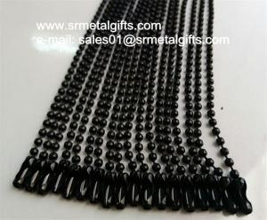 China Black plated metal ball chain black bead chain lanyard wholesale on sale