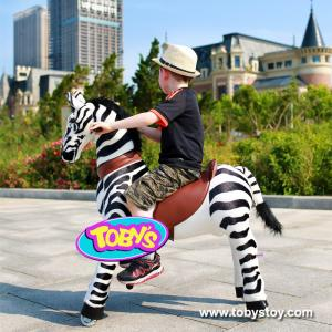 China Tobys  ride on zebra riding horse toy for 3-6 years old kids on sale