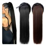 Long Straight Ponytails Hair Extensions / 100 Human Peruvian Hair No Tangle