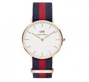 China Wholesale DANIEL WELLINGTON Classic Oxford Watch White Dial Blue/Red 0501DW on sale