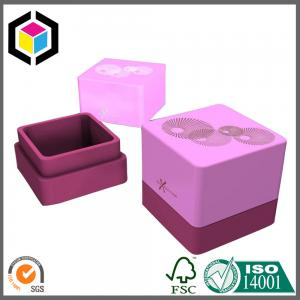 China Pink Color PU Leather Ring Paper Box; Flocking Top Gift Jewelery Paper Boxes on sale