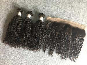China 13x4 Ear To Ear 8A Peruvian Virgin Kinky Curly Lace Frontal With Natural Black on sale