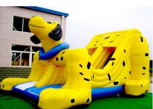 China Yellow Spotty Dog PVC Slide Animal Theme Dog Shape Inflatable Slip N Slide on sale