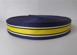 China 3.5cm Custom Printed Polyester Webbing Blue Yellow Color Garment Accessories Woven on sale