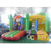 Kids 0.55mm PVC Cartoon Jungle Jumping Inflatable Bouncer Castle With Slide