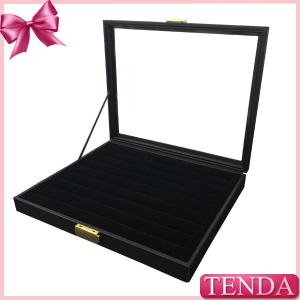 China Extra Large Big Black Lock Leather Standing Displaying Jewelry Box With PVC Window for Shop on sale