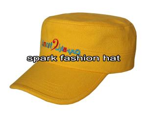 Quality Yellow 100% brushed cotton embroidered flat top hat for sale