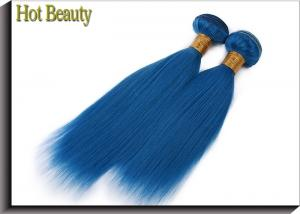 China Double Stitch Weft Hair Extensions Human Hair Dark Blue Color AAAA Grade on sale
