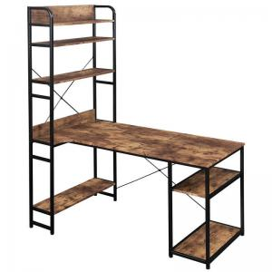 China Metal Frame MDF Board Home Office Computer Table With Bookshelf 28.74H on sale