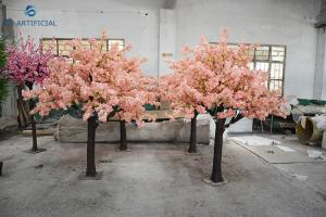 China Height 2.5 M Large Artificial Cherry Blossom Tree Fiberglass Material In Pink on sale