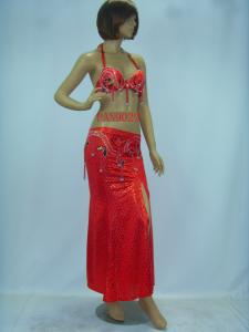 China Contemporary Red Halter Neck Metallic Bras & Skirt Belly Dancing Clothes for Performance on sale