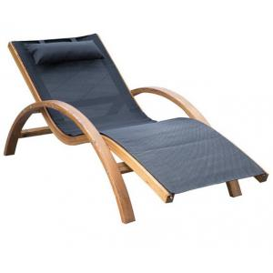 China Foldable Reclining Lounge Chair , Soft Fabric Wooden Recliner Chair Outdoor Patio  Furniture on sale