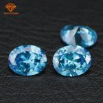 China Bulk wholesale oval shape aqua blue diamond color cubic zirconia gemstones for jewelry making wholesale
