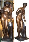 Art déco Archer féminin en bronze avec la sculpture en chien