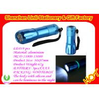 Aluminium alloy and silicone 9pcs led torches flashlight light with 3pcs*AAA battery