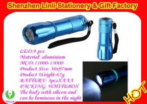 China Aluminium alloy and silicone 9pcs led torches flashlight light with 3pcs*AAA battery on sale