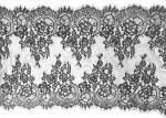 Black Scalloped Vintage Floral Eyelash Lace Trim Bridal Lace Fabric Nylon 20 By 3M