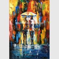 China Framed Palette Knife Oil Painting On Canvas , Abstract Art Paintings Umbrella Girls on sale