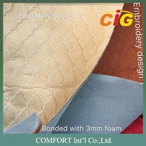 China 130 Gsm Weight 150cm Width Faux Suede Fabric Plain Embroidery Dots Surface on sale