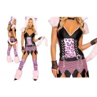 China Faux Fur Pink Sexy Girl Halloween Costume  , Naughty Pussycat Fancy Dress Costumes on sale