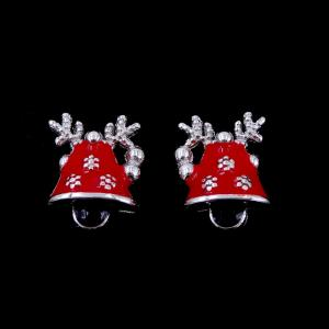 China Enamel Design Children Silver Jewellery Christmas Elk Bell Shape Earrings on sale