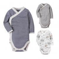 Long Sleeve Cotton Baby Clothes Gift Set Stripe Printed With Snap Side Openning