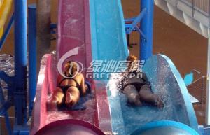 Quality Rainbow Multi Lane Racing Fiberglass Water Slides for Aqua Park Equipment 110m length for sale