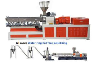 China 200 - 300 kg/h Double Screw Extruder  Machine PP Caco3 Water Ring Pelletizing on sale
