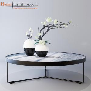 Quality Mesa de centro de mármol blanca de la impresión con las piernas negras del metal for sale