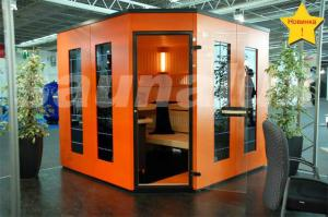 China Solid / Cedar Wood German Saunas Cabin with Color Therapy LED strip on sale