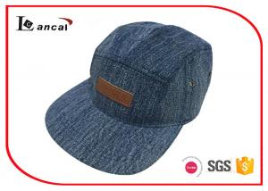 China Washed Denim Five Panels Baseball Caps Hats With Customized Pu Label In Brown on sale