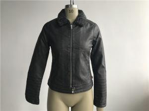 China Levis Ladies' dark grey zip through pleather jacket with sherpa collar LEDO1733 on sale