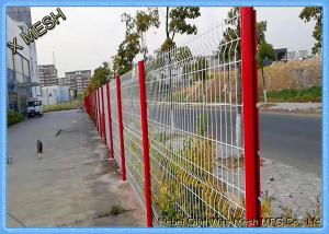China 10 Gauge Triangle Curved Metal Fence 3D Wire Mesh Fence Black PVC Coated SGS Approved on sale