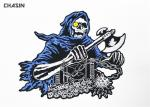 Intricate  Punk Skull Motorcycle Biker Patches Glue Backing Biker Vest Patches