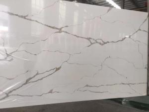 China Wholesale Grey Veins White Calacata Quartz, white quartz slabs Stone for Kitchen Countertop on sale