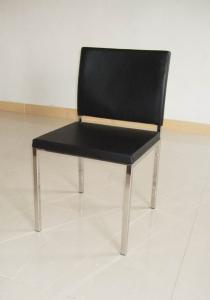 China Black Stainless Steel Modern Leather Dining Chairs / Lounge Room Chairs on sale