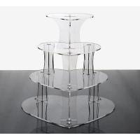 China 4 tiers heart shape acrylic cupcake stand on sale
