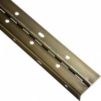 Brass Plated Continuous Piano Hinge Partial Wrap Slotted For Bending Metal Door