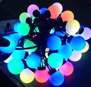 China Factory direct supply Round ball cap RGBY LED string light christmas IP54 indoor / outdoor decoration 9-10 lm/led on sale