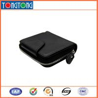 Small Black Leather Credit Card Holder , Mens Wallets With Coin Purse 10.5cm L X 8.5cm W