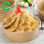 Disposable Freezer Safe Kraft Paper Bowls , Paper Salad Bowl Food Grade