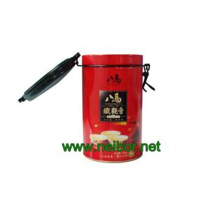 China round tea tin box with airtight plastic lid and metal clasp on sale